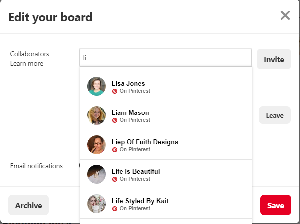 Invite followers to collaborate on group board