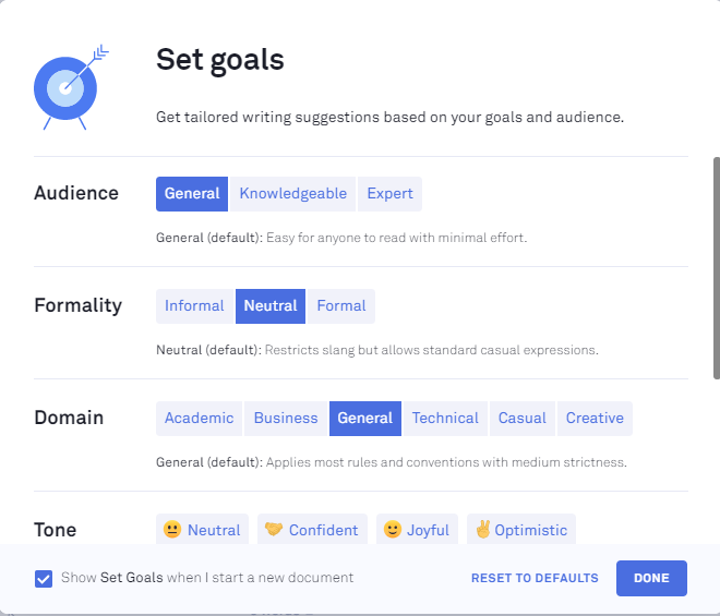 set goals in Grammarly